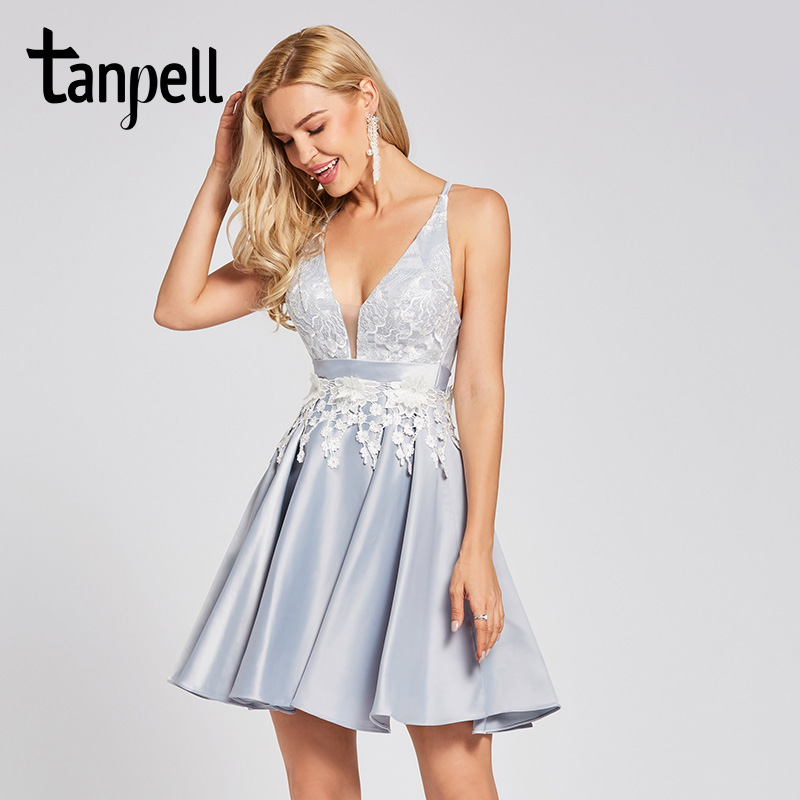 Tanpell criss-cross straps   cocktail     dress   silver sleeveless above knee a line gown women homecoming party short   cocktail     dresses