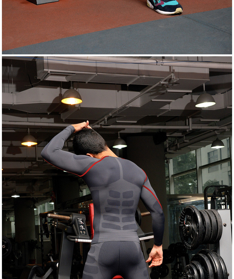 New Fitness Men Gym Clothes Set Workout Clothes Quick Dry Running Pants Sports Leggings + Long Sleeve T shirts Men Sport Suit