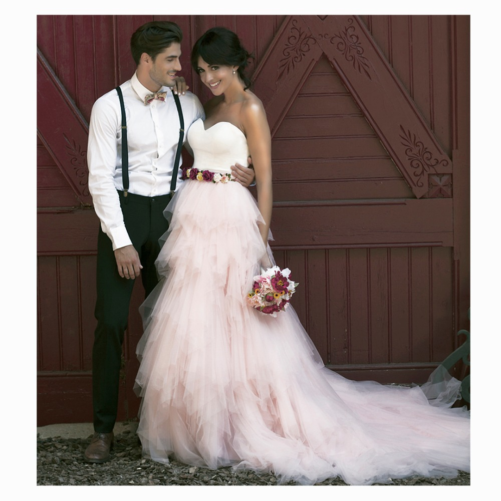 pretty boho blush pink tiered ruched tulle bridal skirts lush puffy long adult tulle skirt women