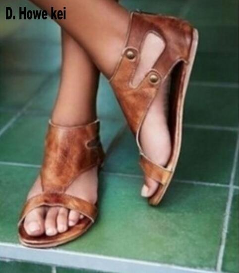 2b33c30d9cf0 Women s Shoes - 2019 Roman Gladiator Summer Ankle Strap Flat Sandals ...