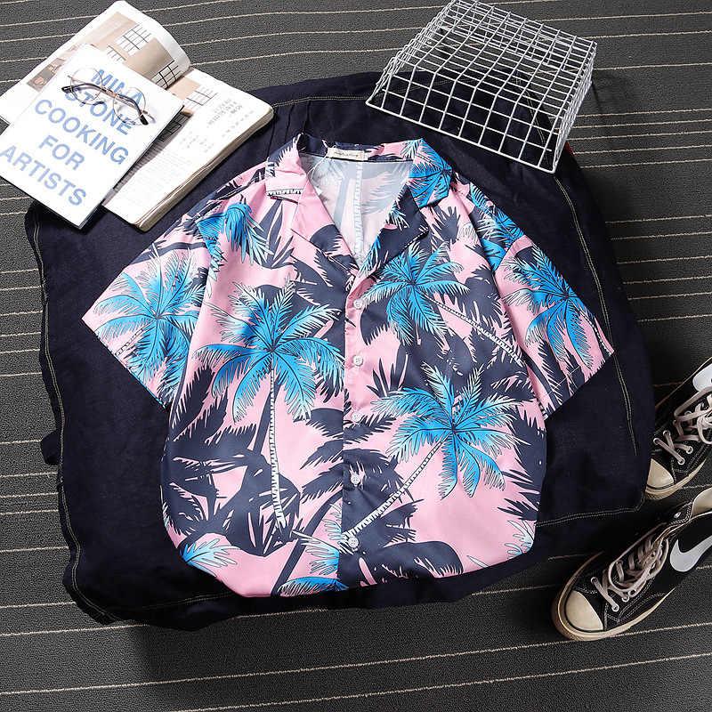 Розовый пляжный цветочный принт Алоха гавайская рубашка Летний праздничный фанк Стиль Топ тройник короткий рукав кнопка летние мужские рубашки
