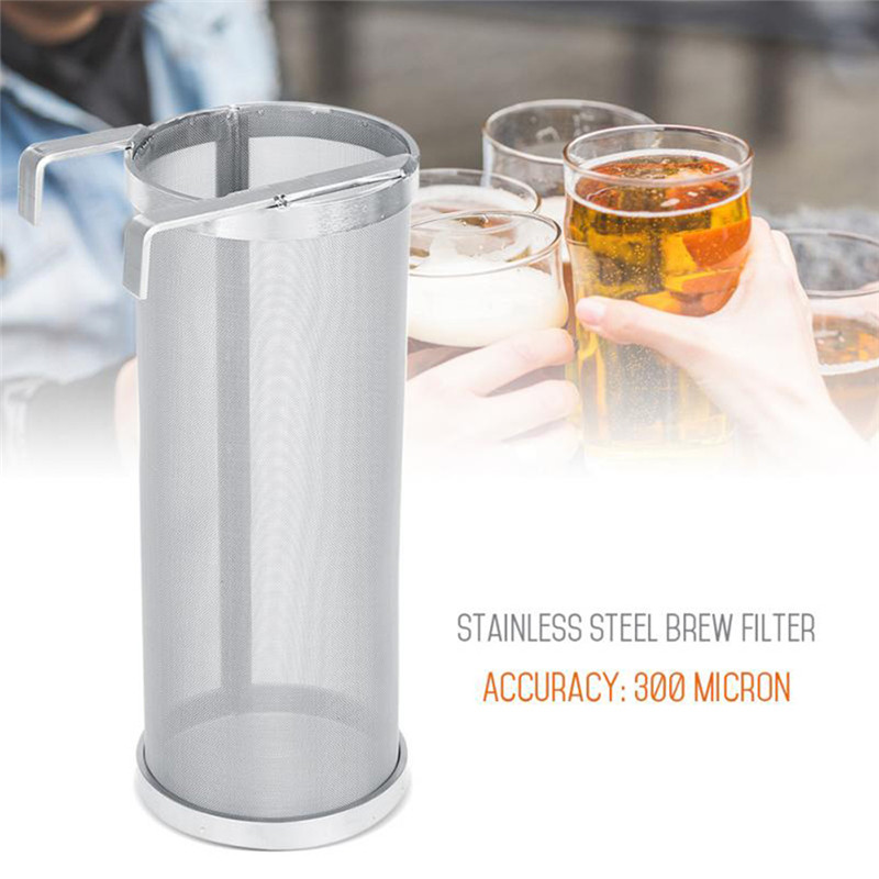 300 Micron Stainless Steel Homebrew Brew Beer Hop Spider Mesh Filter Strainer with Hook Reusable Beer Brewing Bar Accessories