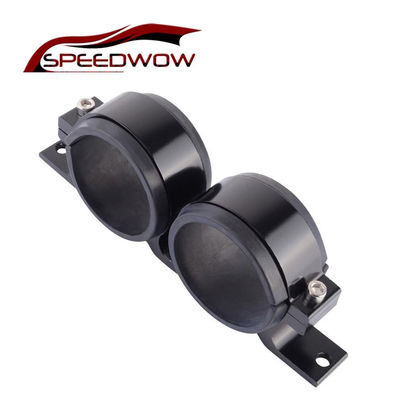 SPEEDWOW Aluminium <font><b>60mm</b></font> Dual Double Billet 044 Kraftstoff Pumpe Filter Halterung <font><b>Clamp</b></font> Kit image