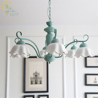 American Style Refreshing Iron Led Pendant Lights glass Lampshade for living room lamp Green Pendant Lamps Indoor Light Hanglamp