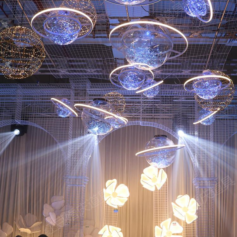 Nieuwe Collectie Shine LED Flash Ster Bal Bruiloft Showcase Decoratie Ruimte Planeet Opknoping Ornament Kroonluchter Gratis Verzending