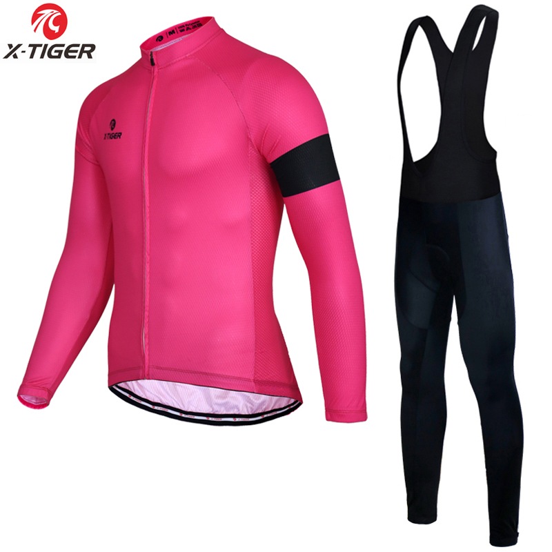 X-Tiger Autumn Cycling Jersey Set 7 Colors Spring MTB Bicycle Clothing Long Sleeve Bike Clothes For Mans 2018