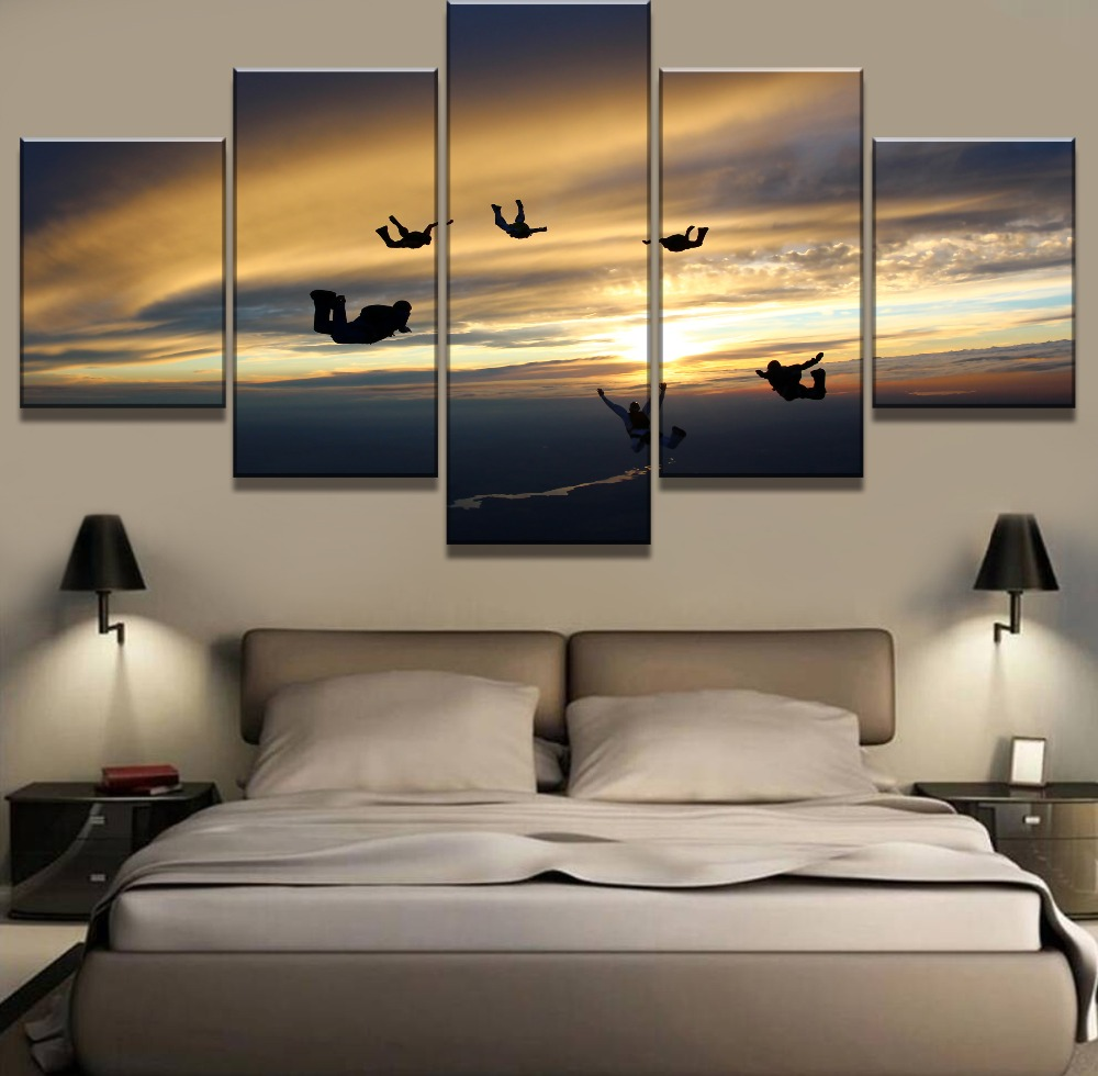 Skydive Extreme Sport 5 panel canvas Wall Art Home Decor Print Painting