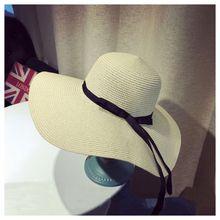 New Women Ladies Summer Wide Brim grass Hat Beach Sun Foldable Cap, Creamy-White