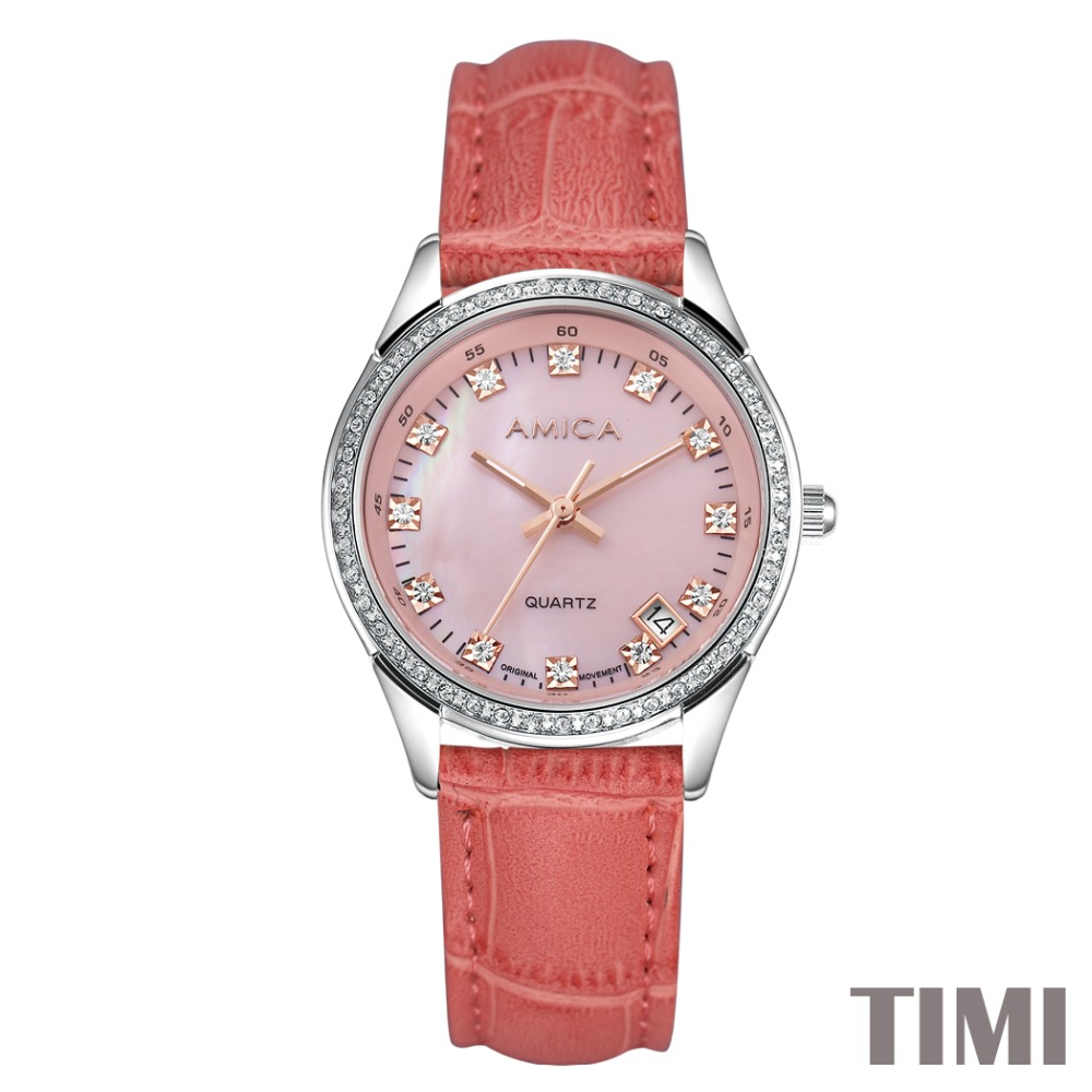 ФОТО AMICA NEW FASHION DESIGN DELUXE DOUBLE CRYSTAL WOMENS QUARTZ WATCHES LADYS WATCH 19 COLOURS A7