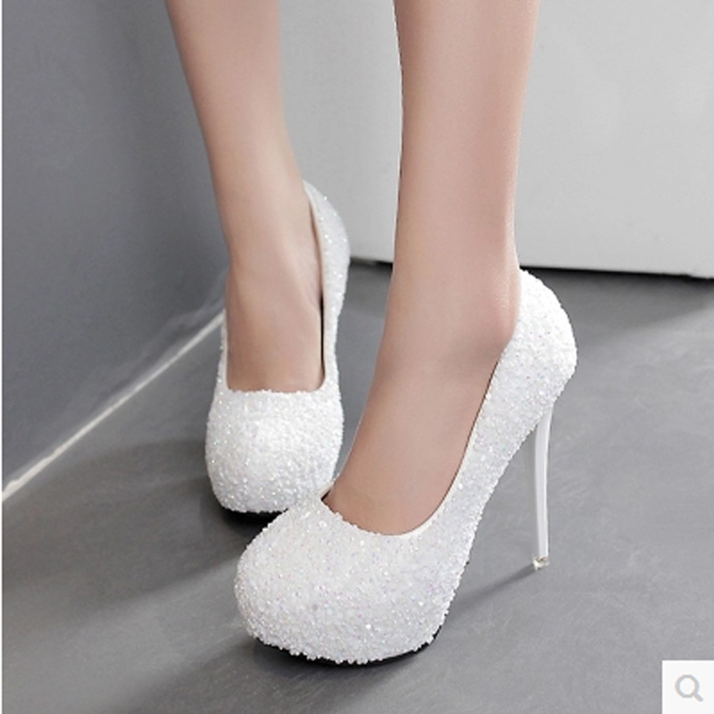 12cm Classic Women Thin High Heels Bling Sexy Platform Round Toe ladies Wedding Party Shoes Sequins Female Pumps