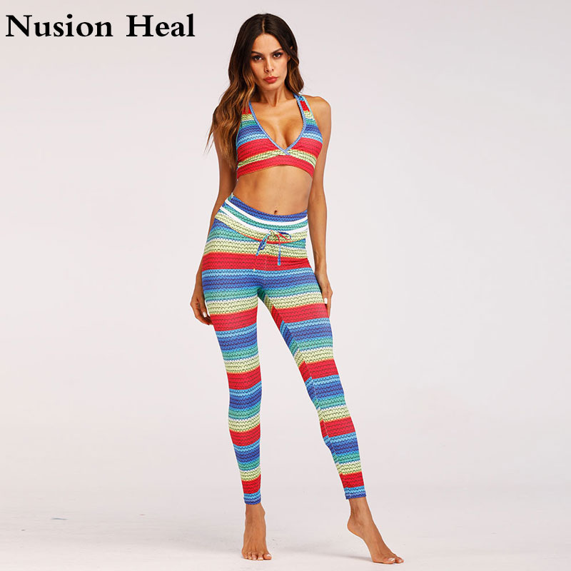 2Pcs Women Yoga Pants Women Yoga Leggings + Sports Yoga Bras High Waist Running Tights Women High Quality Fitness Sport Leggings