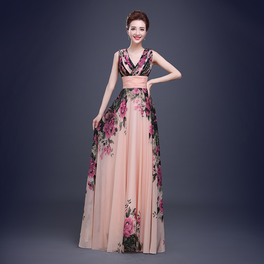 Floral Print Cheap Short Bridesmaid Dresses Formal Gowns ...