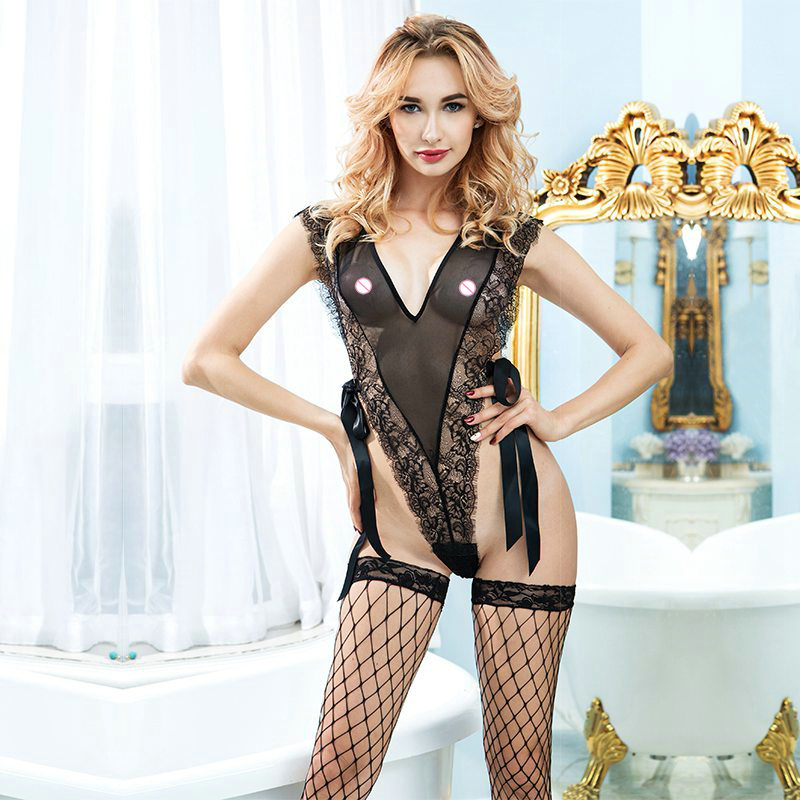Black lace bodysuits sexy lingerie with stockings belts perspective underwear sleepwear for sex erotic seduction cloth 6350