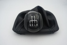 FAT BLACK PU For Skoda Octavia 2 A5 2004 2005 2006 2007 2008 2009 2010 New 5 Speed Car Gear Shift Knob With Black Leather Boot