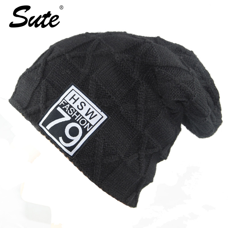 sute Knitted Hat Winter Beanies Men Women Caps Warm Baggy Bonnet Mask Wool Blalaclava Skullies Beanies Winter Hats For Men Hat [cosplacool]knitted letter skullies bonnet winter fleece beanies hat for men women hats warm baggy