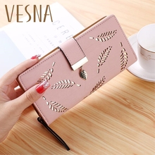 цены на 2019 Women Wallet Purse Female Long Wallet Gold Hollow Leaves Pouch Handbag For Women Coin Purse Card Holders Portefeuille Femme  в интернет-магазинах