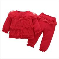 Newborn Full Moon Female Baby Winter Suit 0 1 Year Old Female Baby Clothes Princess Red