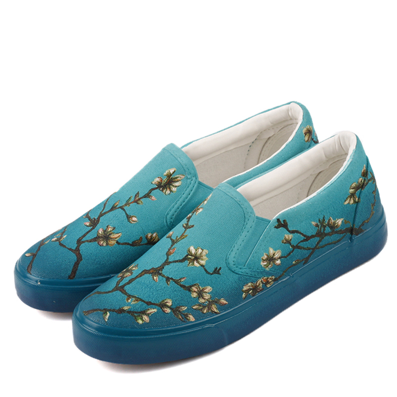 E-LOV Hand End Artwork Almond Tree in Blossom Hand Painted Casual Loafers Couples and Lovers Leisure Slip On Zapatillas e lov unique design taurus horoscope luminous canvas shoes women diy graffiti couples lovers casual flats zapatillas mujer