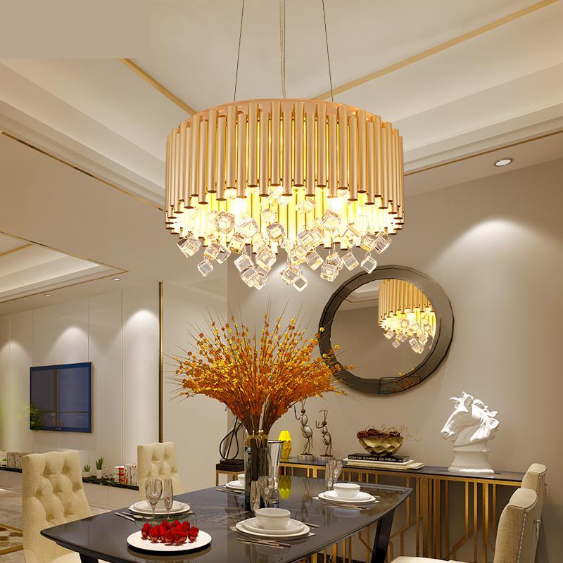 Modern Chandelier Lighting Dining Room Lamp Luxury Art Deco Pendant Lustre Crystal Household Creative Project Led Light
