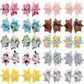 3 Inch Trendy Ribbon Hair Clips For Women 10 Color DIY Hair Bows With Rhinestones Girls Hair Accessories 20PCS XC1879