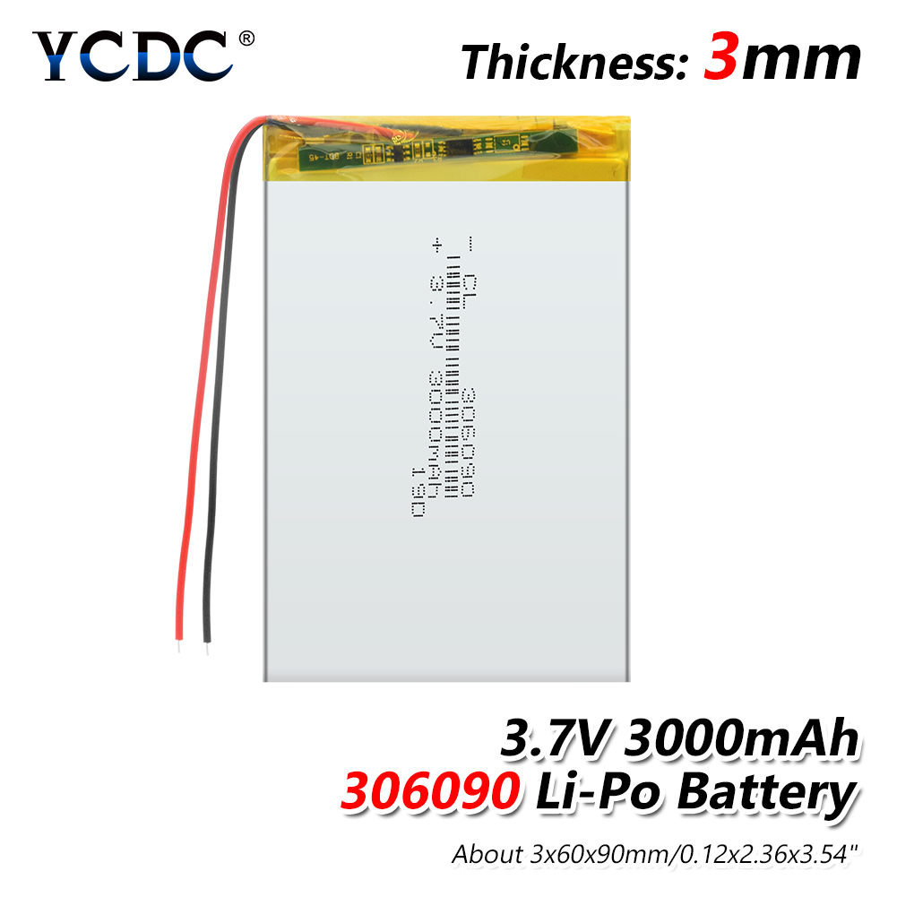 <font><b>3000mah</b></font> <font><b>3.7</b></font> <font><b>V</b></font> 306090 Supply lithium battery lithium polymer Rechargeable battery For Bluetooth Headset MP3 MP4 MP5 GPS PSP MID image