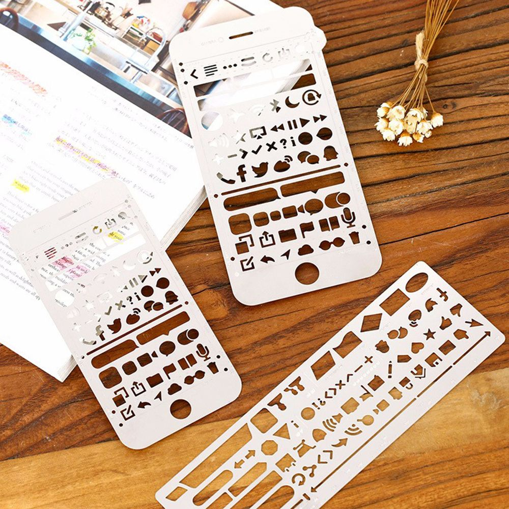 Limit Shows Cute Phone Hollow Metal Ruler Craft Dies Graffiti Drawing Template Scrapbooking Metal Spellbinders  Art Painting