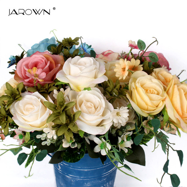 Jarown artificial french rose floral flower bouquet silk flower jarown artificial french rose floral flower bouquet silk flower arrangement wedding bouquet for home garden decor mightylinksfo