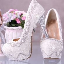 White Wedding Bridal Dress Shoes Super High heel 14cm Fashion Lady Shoes Match anniversary party font