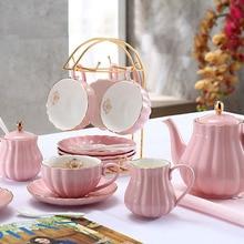Brief British Bone China Pumpkin Stripe Drinkware Ceramic Coffee Cup Mug With Milk Teapot Saucer Spoon Gold Plated Shelf Kit Set