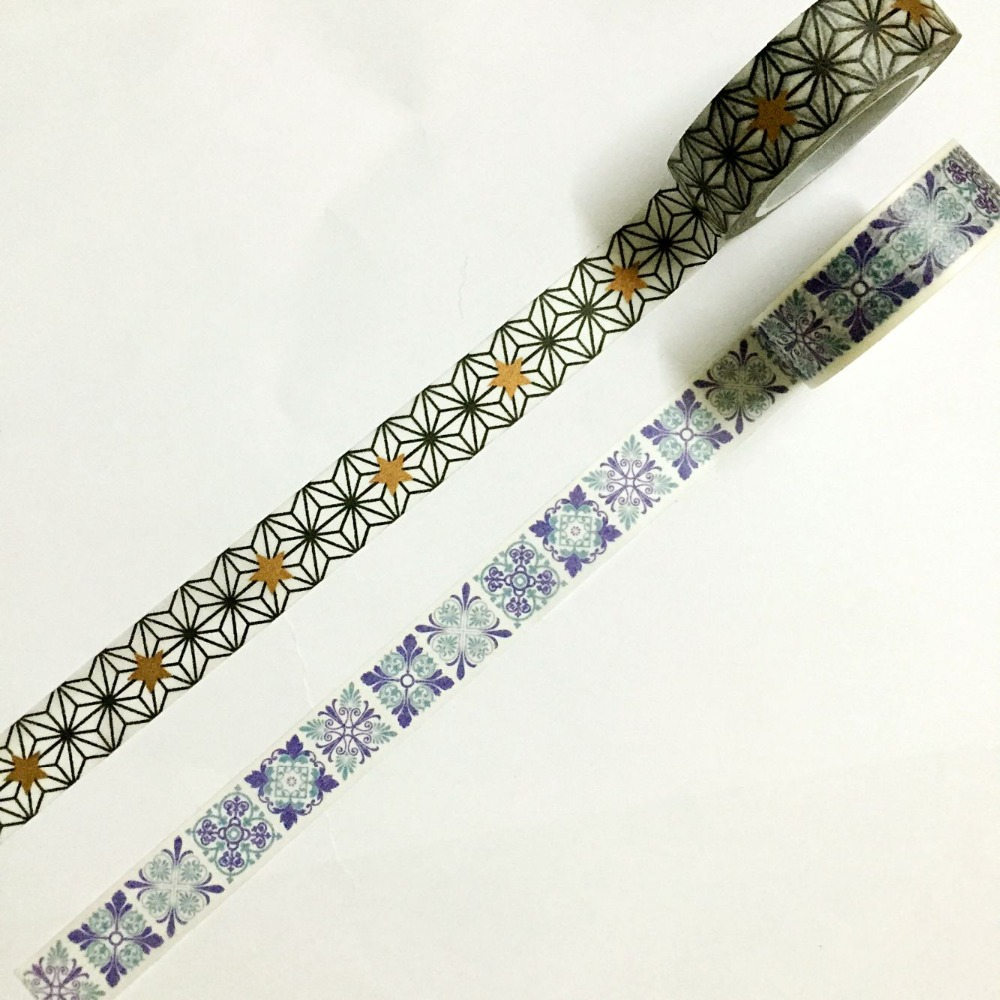 Beautiful 15mm*10m  High Quality   Washi Tape/Black Spider Line And Blue Morocco  Brick  Washi Tape/ Lift Washi Paper Tape