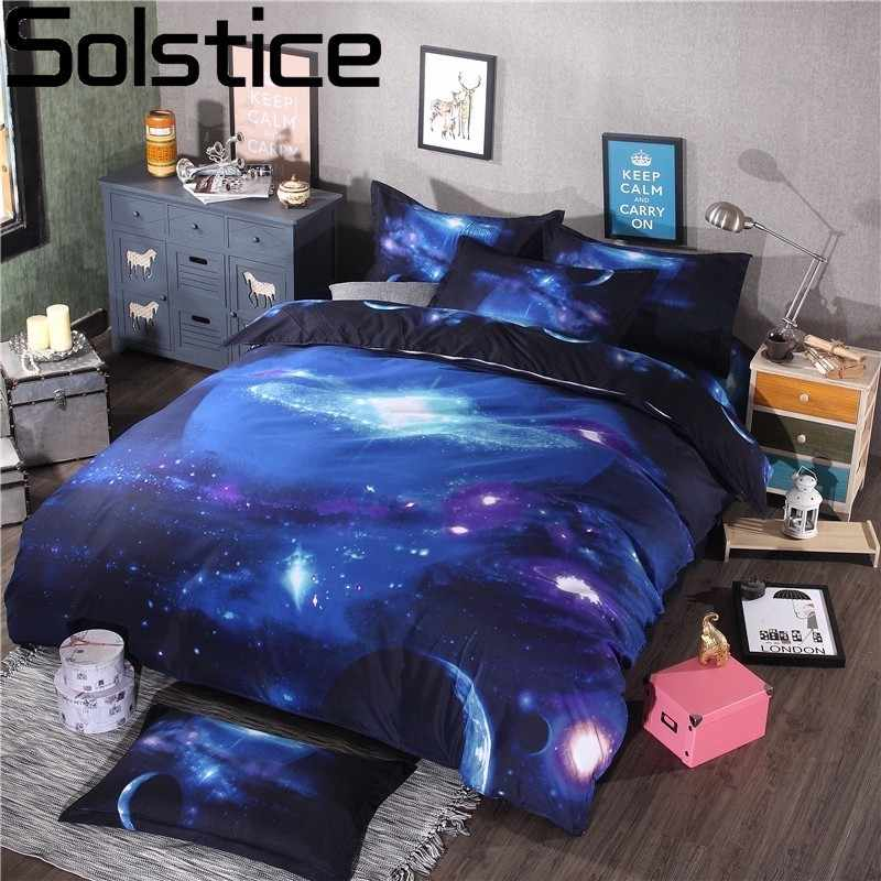 Solstice Home Textile Universe Outer Space Themed Galaxy Style 3pcs Bedding Set Bed Linen Duvet Cover Pillowcase Full Queen Size