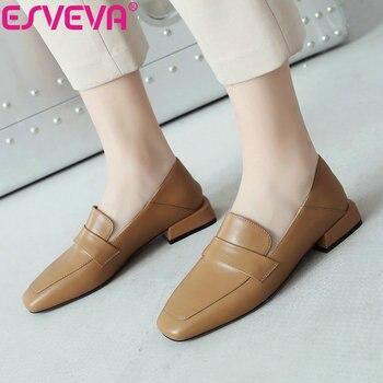 ESVEVA 2019 Women Pumps Elegant Square Toe Leisure Shoes Square Med Heels Spring Sandals Shallow Women Shoes Shallow Size 34-39