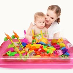 40 unids/lote con piscina inflable juego de red de caña de pescar magnética para niños