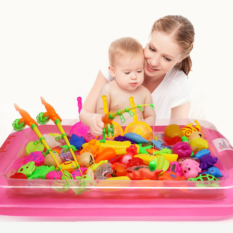 40pcs/lot With Inflatable pool Magnetic Fishing Toy Rod Net Set For Kids Child Model Play Fishing Games Outdoor Toys children s magnetic fishing toy with 6 fishes one fishing rod outdoor fun sports fish toy family games gift for baby kids