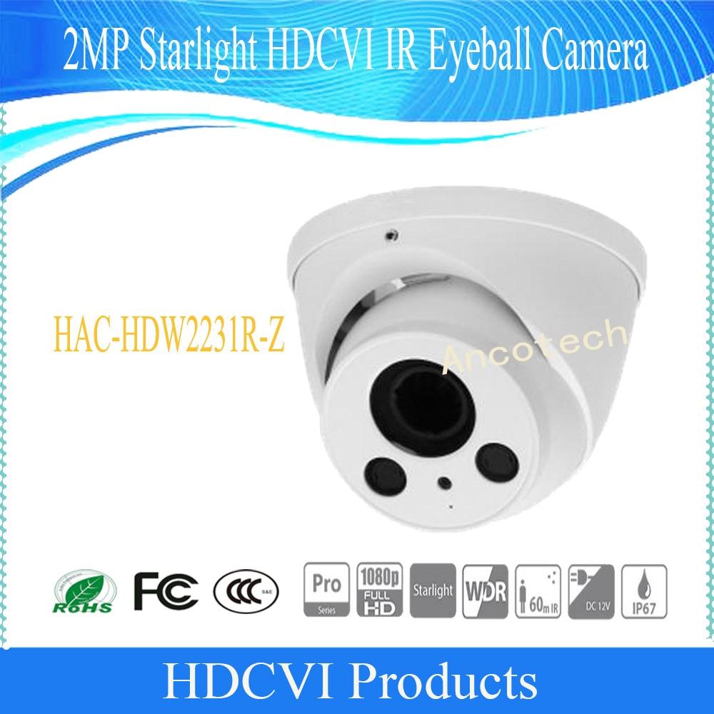 Free Shipping DAHUA Security Camera CCTV 2MP Starlight HDCVI IR Eyeball Camera IP67 Without Logo HAC-HDW2231R-Z free shipping original english dahua security camera cctv 2mp hdcvi ir dome digital video camera without logo hac hdbw1200r vf