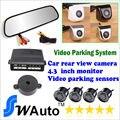 Auto Video display sensores de aparcamiento, opinión posterior del coche que invierte la cámara ccd, 4.3 pulgadas del revés del coche del Monitor del espejo