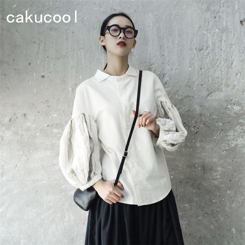 Cakucool New Lantern Sleeve Blouse Shirt Women Autumn Off White Japanese Harajuku Designer Blusa Femme Loose