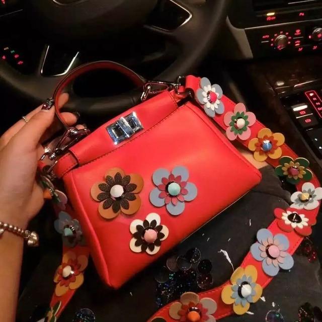 Женщины peekaboo сумки цветы высокого качества сплит кожа сумка мини сумки tote известные бренды дизайнер bolsa