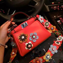 women peekaboo bags flowers high quality split leather messenger bag shoulder mini handbags tote famous brands