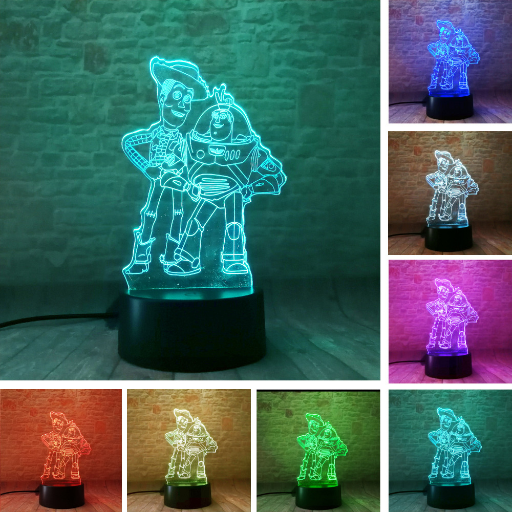 Child Favor Toy Story Buzz Lightyear Woody RGB Color Change Table Decor Night Light Kids Baby Christmas Festival Birthday Gift anime figure toy story 3 buzz lightyear and woody doll led alarm clock color touch light movie figurines toys for boys gift