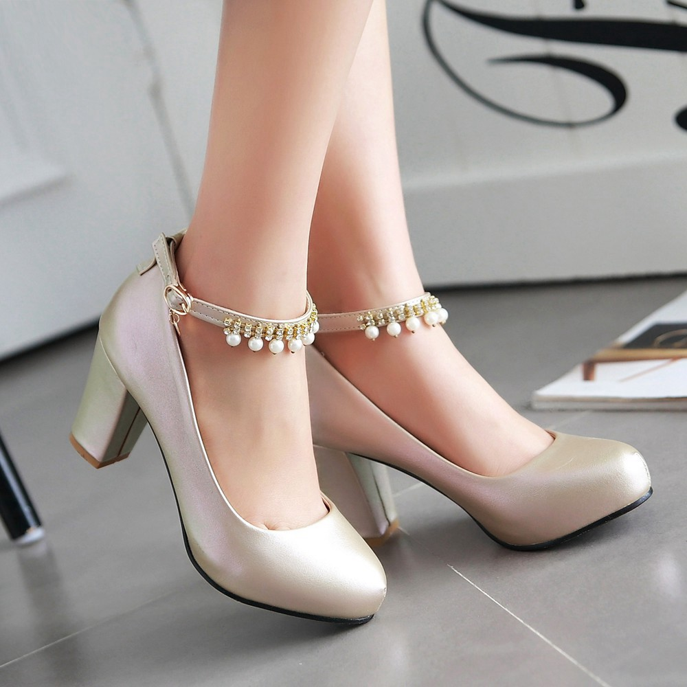2017 Chunky High Heeled Pink Bridal Wedding Shoes Beaded White Female Buckle Elegant Pumps Silver Gold39