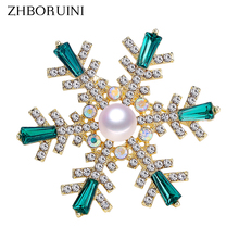 ZHBORUINI 2019 High Quality Natural Freshwater Pearl Brooch Snowflake Pins Green Color Jewelry For Women Gift