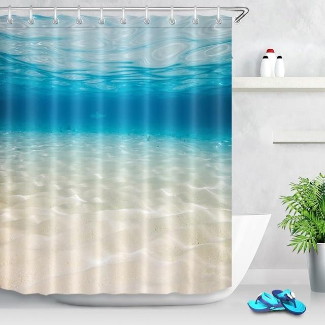 LB Shower Curtains Underwater Background With Sandy Blue Sky Sea Beach Bottom Pineapple Bathroom Curtain For Bath Tub Home Decor