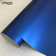 50x200 см синий металлический матовый хром виниловая пленка, автомобильная наклейка, пленка для автомобиля, покрытие фольги с воздушными пузырьками