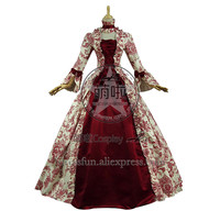 Lolita Dress Victorian Lolita Reenactment Stage Antique Gothic Cosplay Costume With Bowknot And Beige Floral Decorated Fast