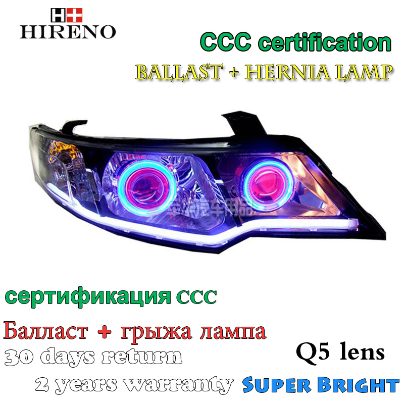 Hireno Modified Headlamp for Kia Forte 2009-2012 Headlight Assembly Car styling Angel Lens Beam HID Xenon 2 pcs hireno headlamp for 2016 hyundai elantra headlight assembly led drl angel lens double beam hid xenon 2pcs