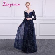Linyixun Bling Bling Colher Mangas Compridas Vestidos de Noite 2018 Tull Frisada Gilding Vestidos Até O Chão Baile vestido de festa Azul