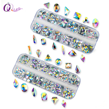 180Pcs Crystal AB 12 Shape Stone Big Size With Box AAA Hot Fix Rhinestones Glass Strss Hotfix Rhinestone For Garment