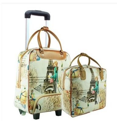 цена на 20 Inch Women Travel luggage Trolley Bag on wheels travel Suitcase Travel Rolling Bag Set Baggage Rolling Travel wheeled bag