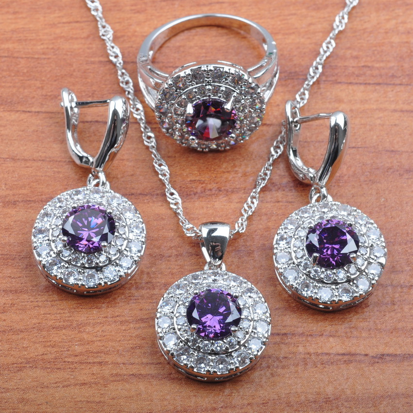 AAA+ Quality Purple Zirconia Silver 925 Jewelry Sets Women Bridal jewelry Earrings Necklace Pendant Ring Set JS0271